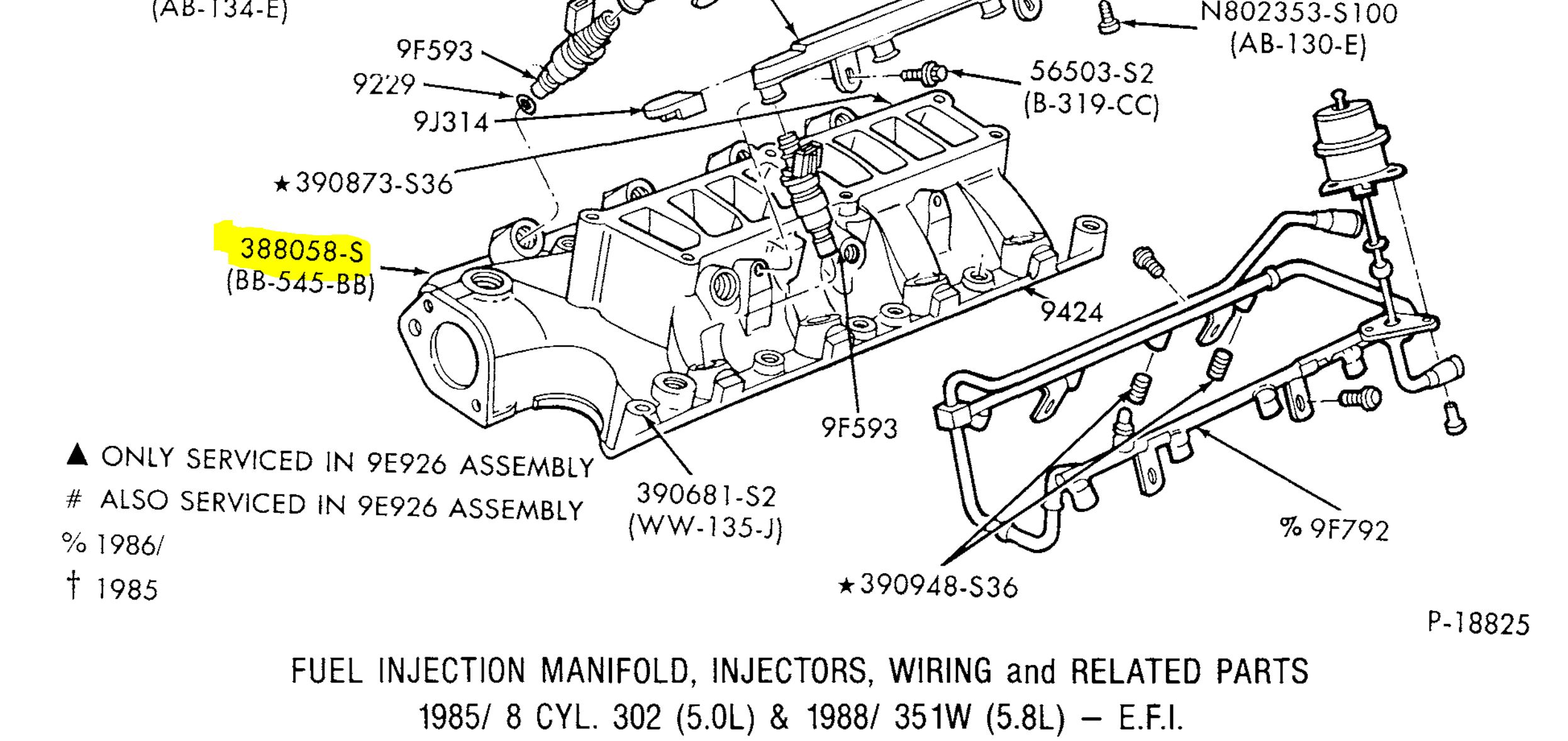 Bullnose Enthusiasts 86 302 Lower Intake Manifold Bolts 134 F Head Engine Diagram Assuming You Mean The That Go Into Heres What Catalog Shows